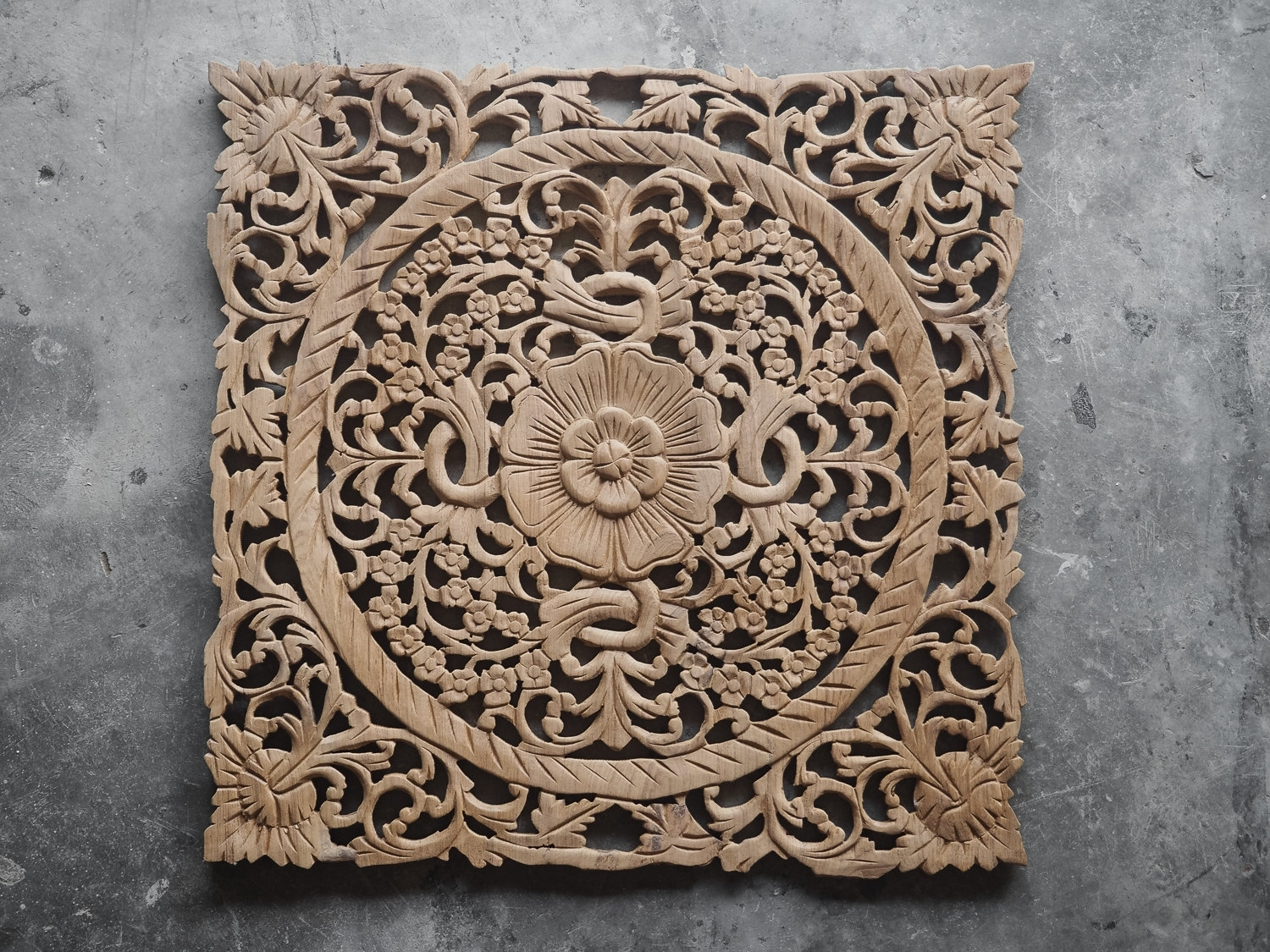 Buy Lotus Wood Carving Plaque Oriental Decor Online Intended For Newest Carved Wood Wall Art (View 1 of 15)
