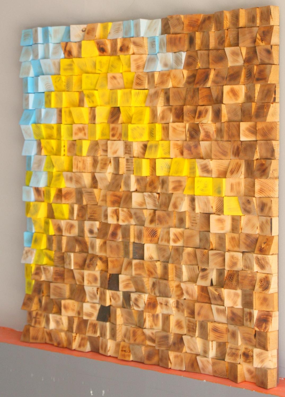 Buy Reclaimed Wood Wall Art, Wood Mosaic, Geometric Art, Wood Wall In Current Modern Wall Art (View 14 of 15)
