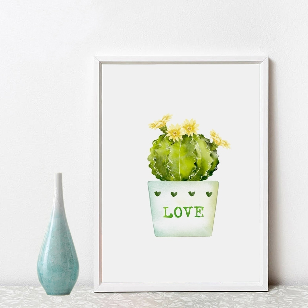 Cacti Inspiration Wall Art Green Home Decor Love Gift Pictures Pertaining To Newest Cactus Wall Art (Gallery 5 of 20)