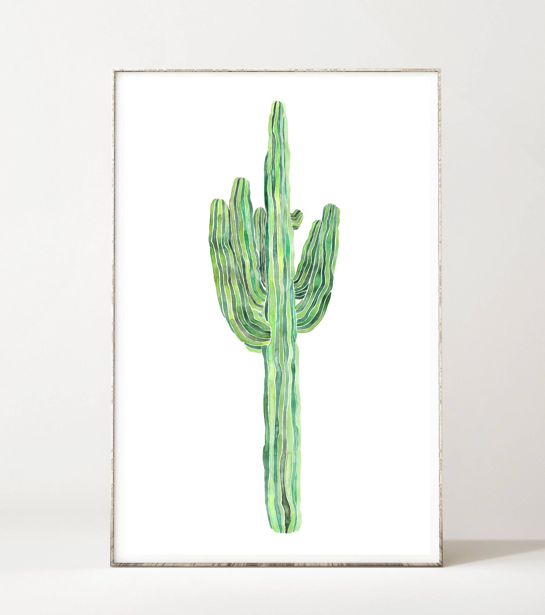 Cacti Print, Cactus Wall Art, Saguaro White Background, Minimalist Regarding 2018 Cactus Wall Art (View 6 of 20)
