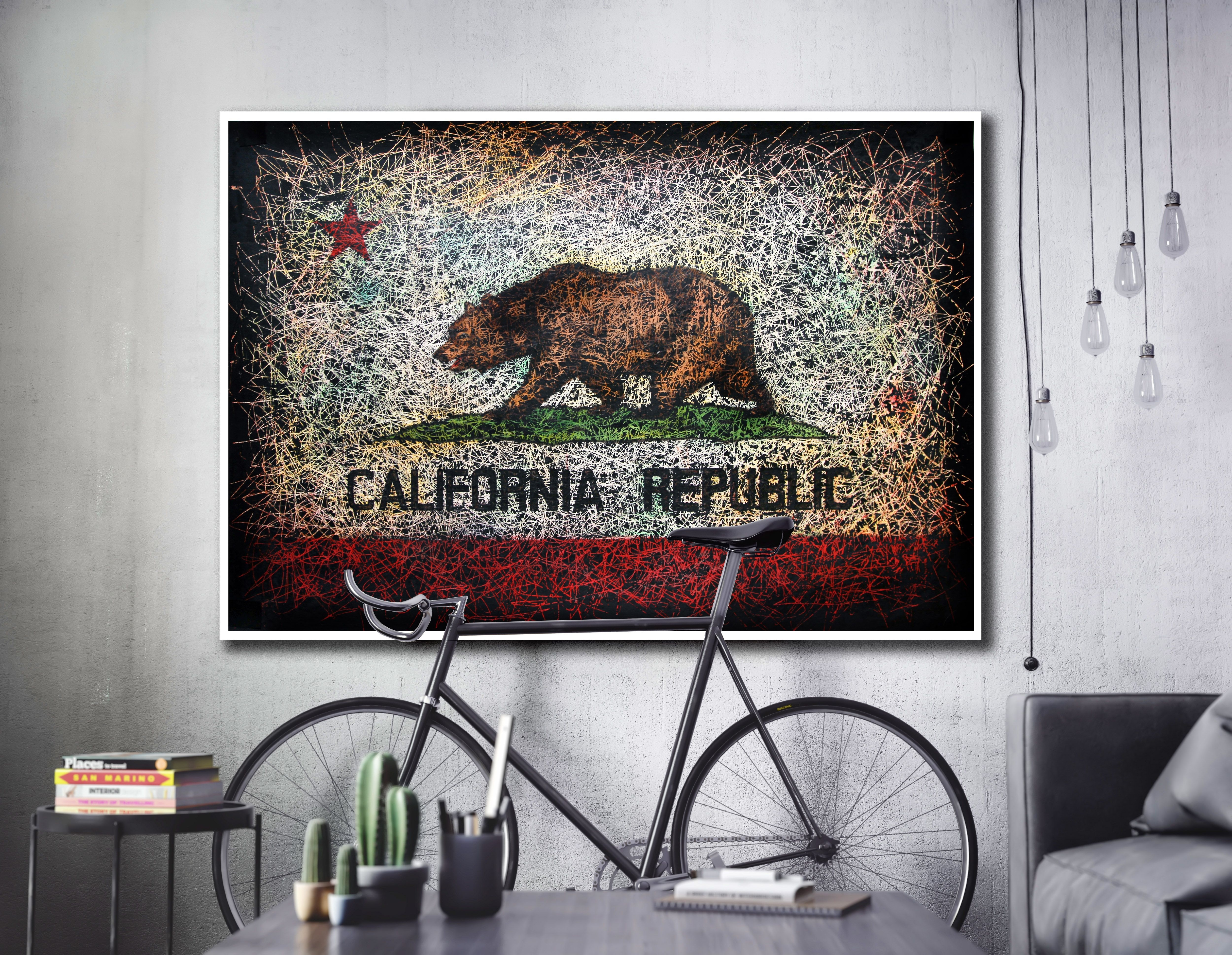 California Republic Flag, Hand Painted Wall Art | Flags As Wall In Most Recent California Wall Art (Gallery 2 of 20)