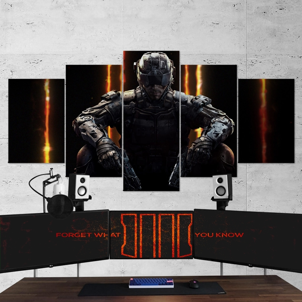 Call Of Duty Black Ops 3 – 5 Piece Canvas Wall Art Gaming Canvas Within Most Recent 3 Piece Canvas Wall Art (View 9 of 15)