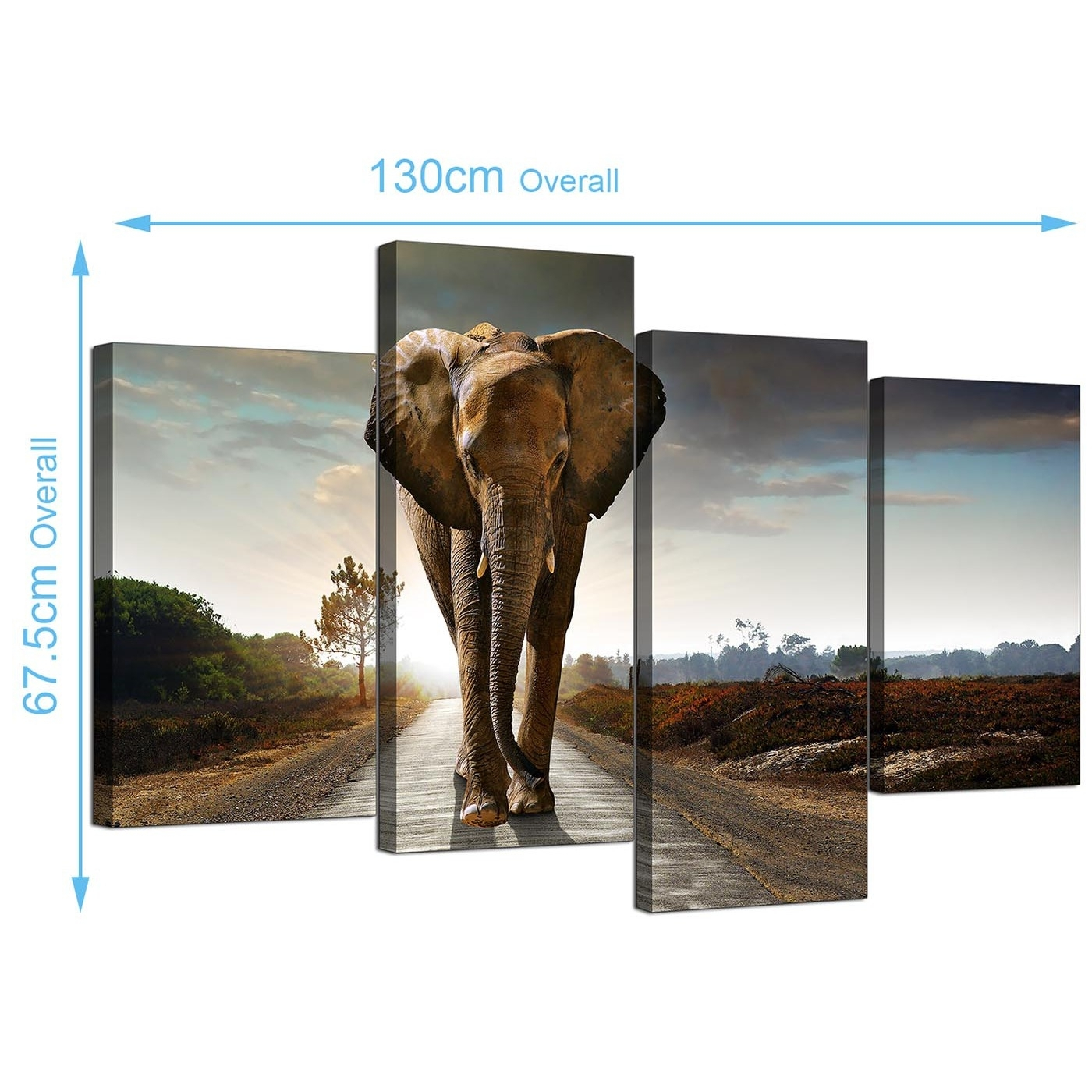 Canvas Art Of An African Elephant For Your Bedroom – 4 Panel In Best And Newest Elephant Canvas Wall Art (View 10 of 20)