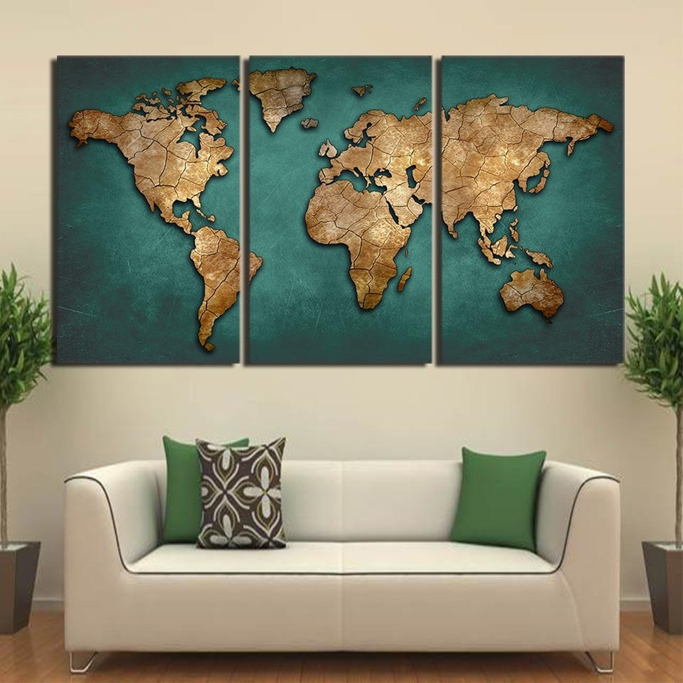 Canvas Art World Map Canvas Painting Vintage Continent Wall Picture Inside 2018 Wall Art World Map (View 3 of 20)