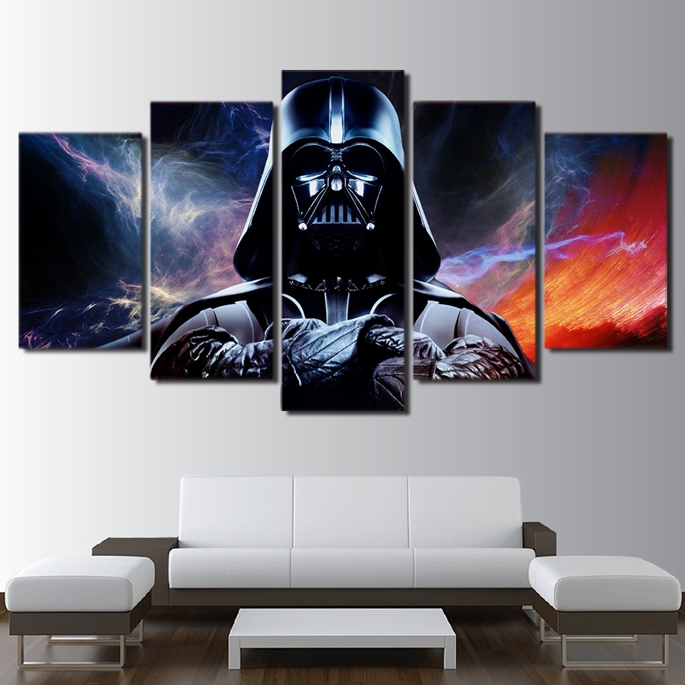 Canvas Hd Prints Posters Home Wall Art Framework 5 Panels Star Wars Within Current Darth Vader Wall Art (View 1 of 20)