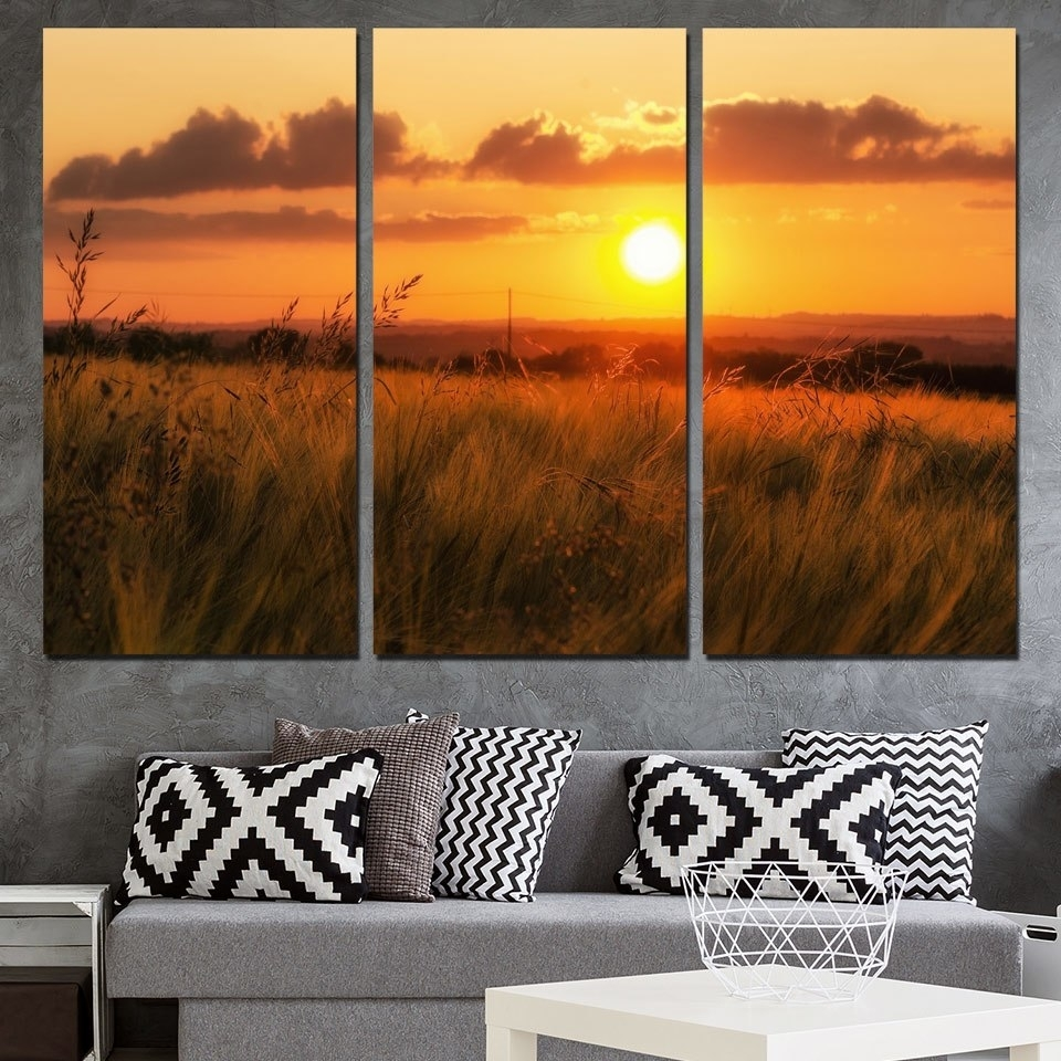 Canvas Painting Beautiful Nature Wall Art Pictures 3 Panel Sunset Regarding 2018 Nature Wall Art (Gallery 15 of 20)