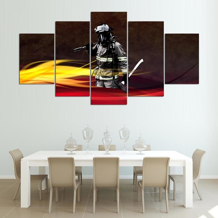 Canvas Painting Home Decorative Modular Hd Print 5 Panel Firefighter In Most Up To Date Firefighter Wall Art (View 6 of 15)