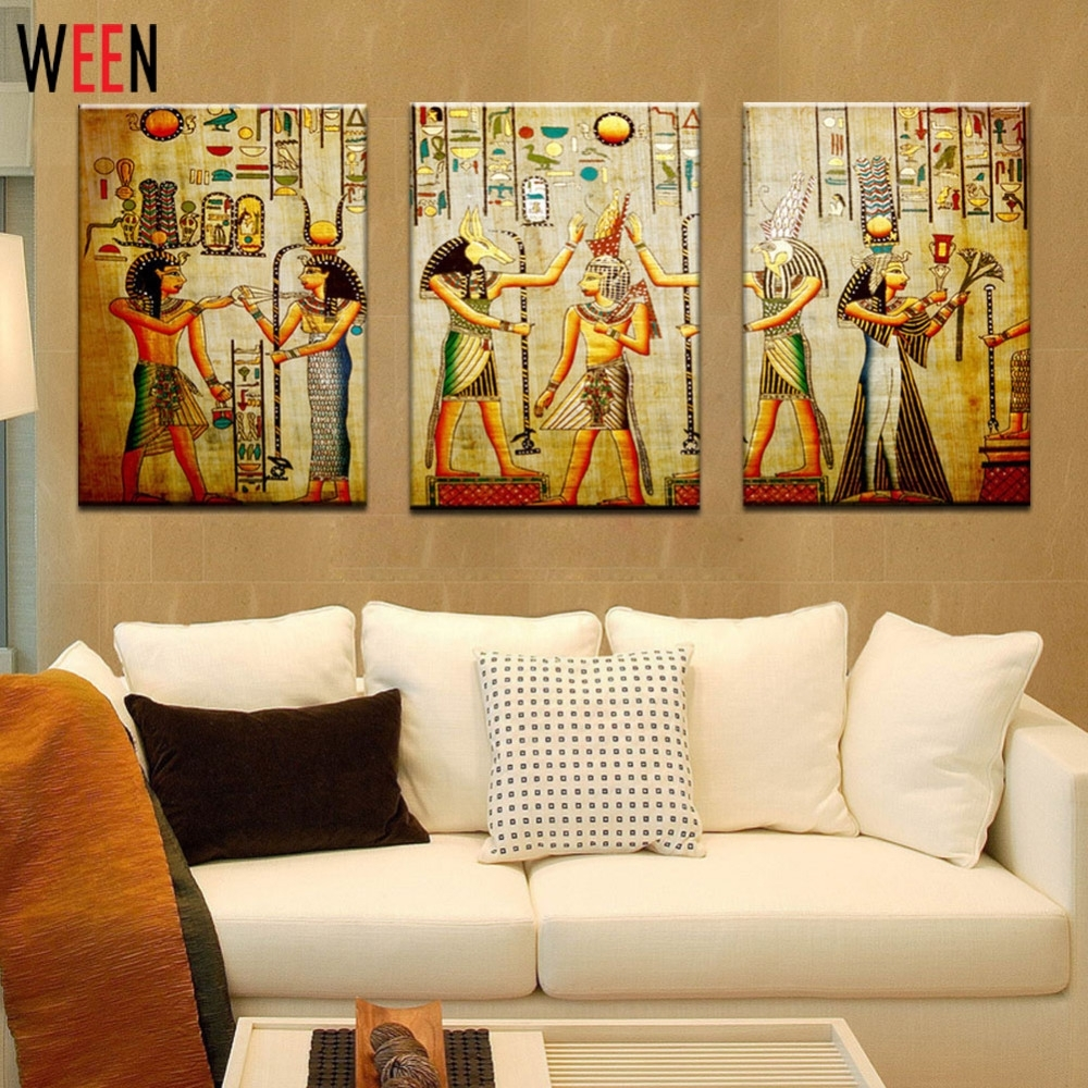 Canvas Painting Triple Abstract Picture Egyptian Mural Room Modern With Regard To Current Large Framed Canvas Wall Art (Gallery 1 of 20)
