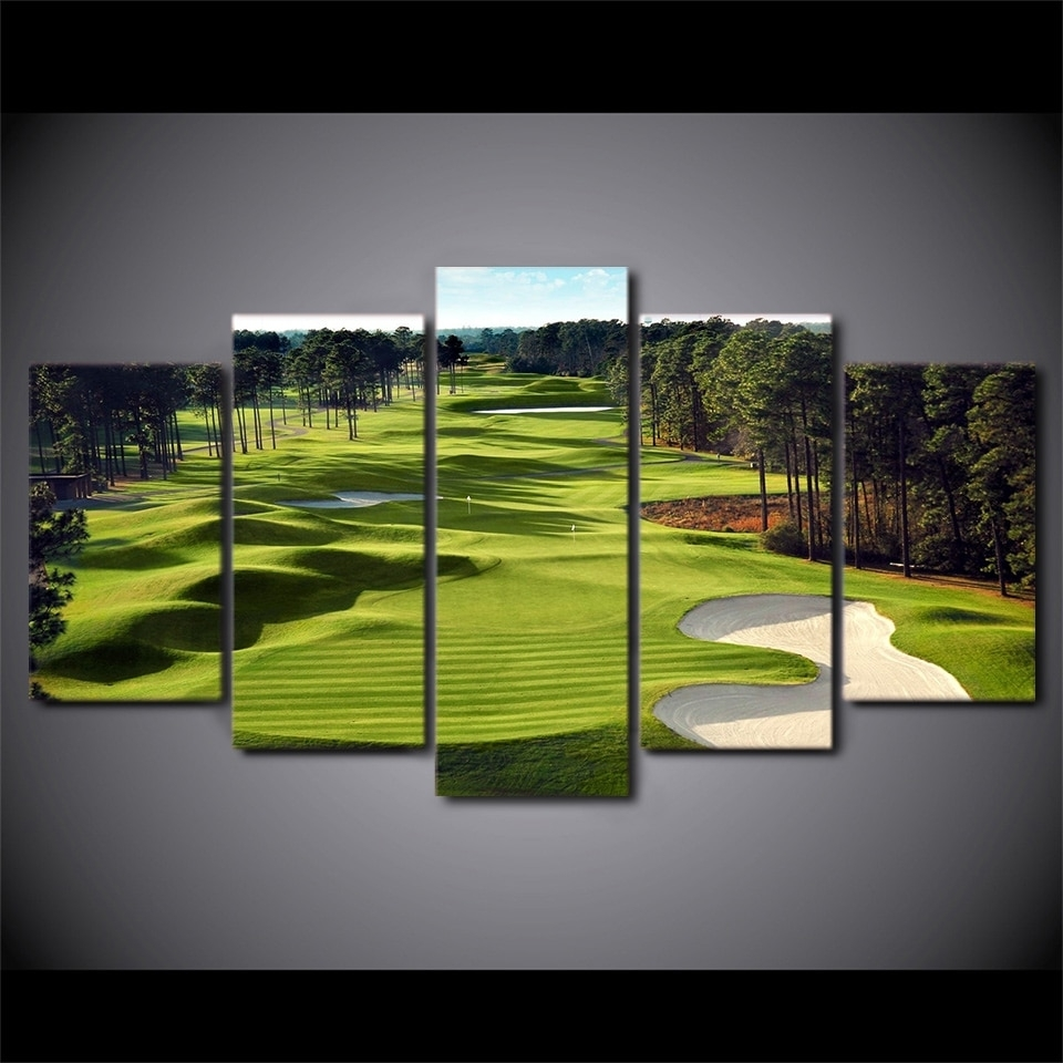 Canvas Paintings Printed 5 Pieces Golf Course Wall Art Canvas For Recent Golf Canvas Wall Art (Gallery 3 of 20)