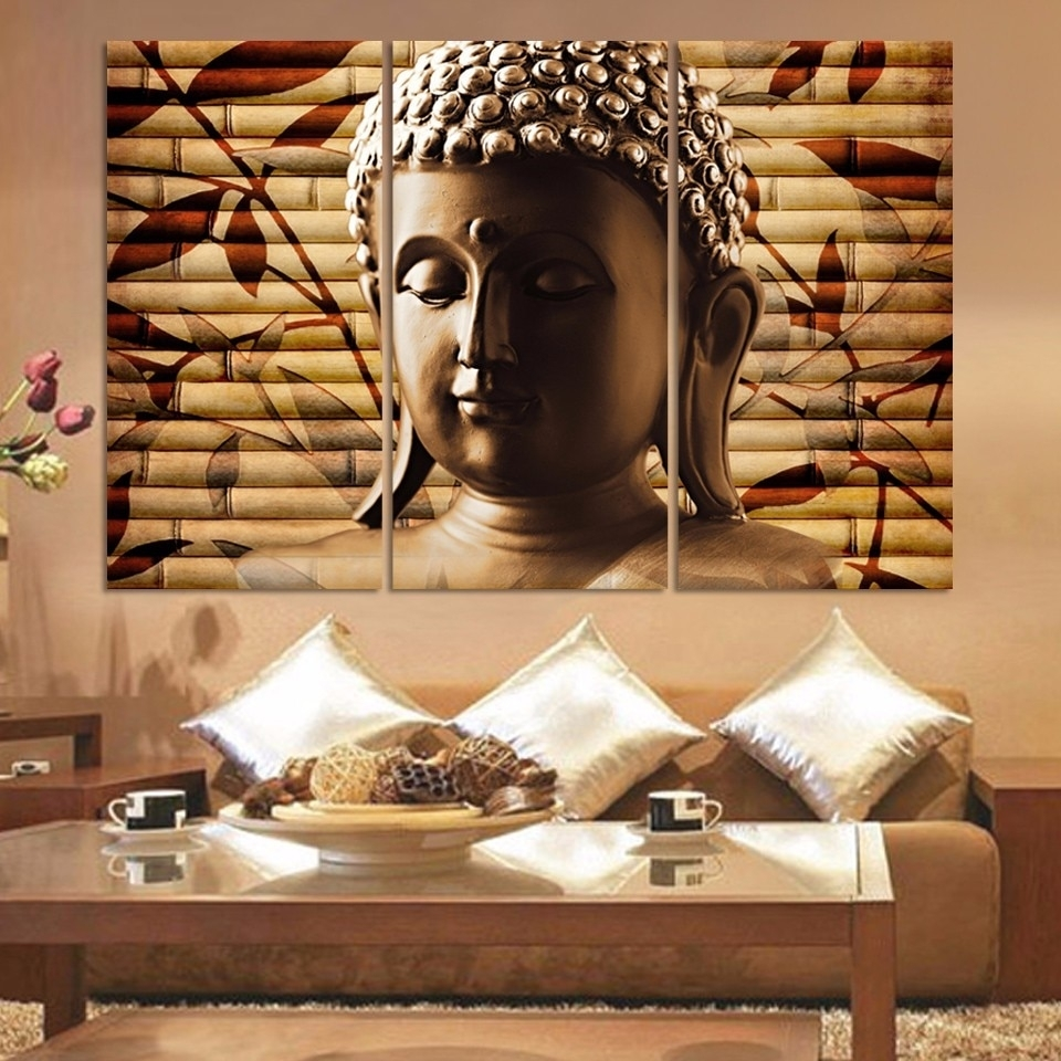Canvas Pictures Home Decor Wall Art 3 Piece Classical Buddha For 2018 Asian Wall Art (Gallery 8 of 15)