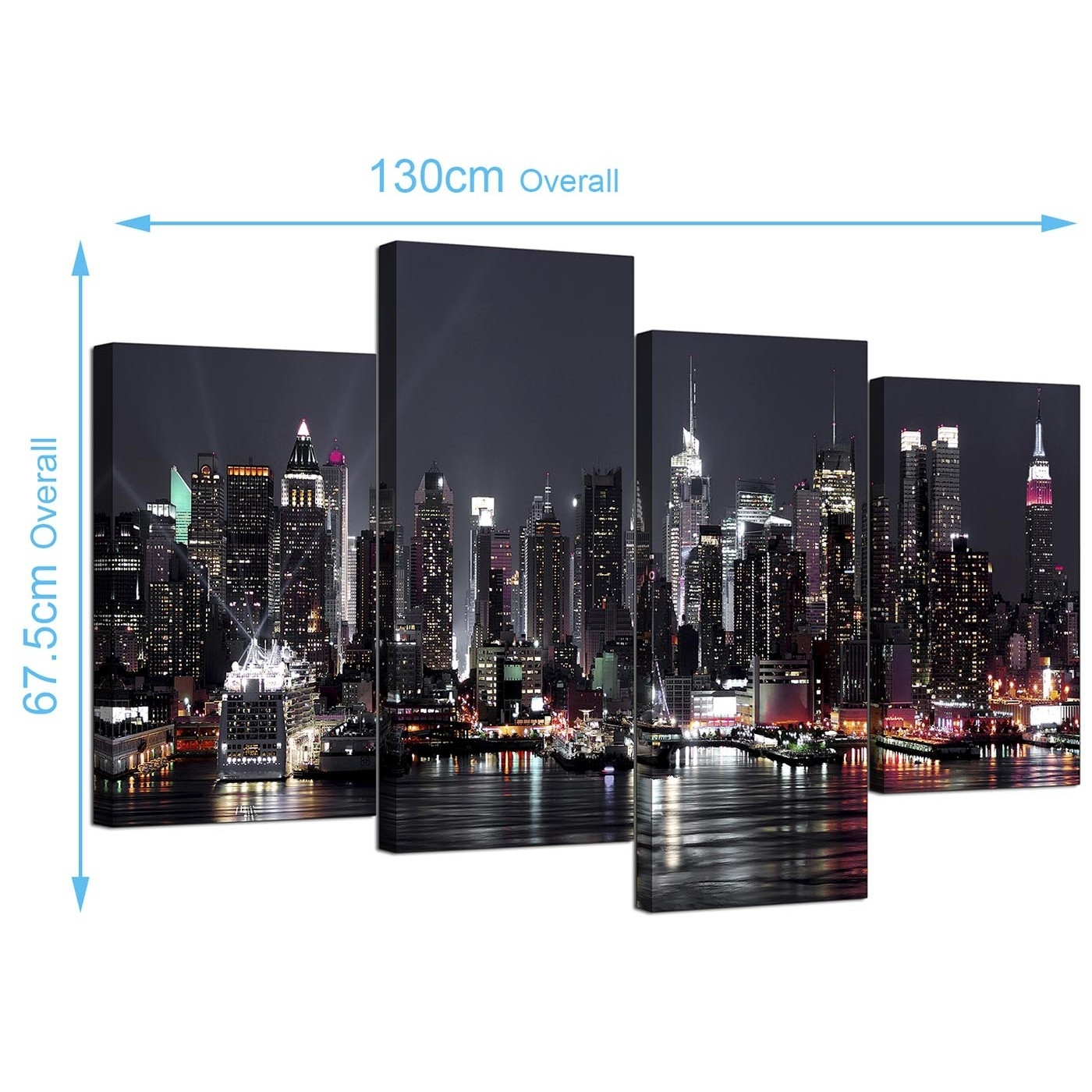Canvas Pictures Of New York Skyline For Your Living Room – 4 Panel For Recent New York Canvas Wall Art (View 5 of 15)