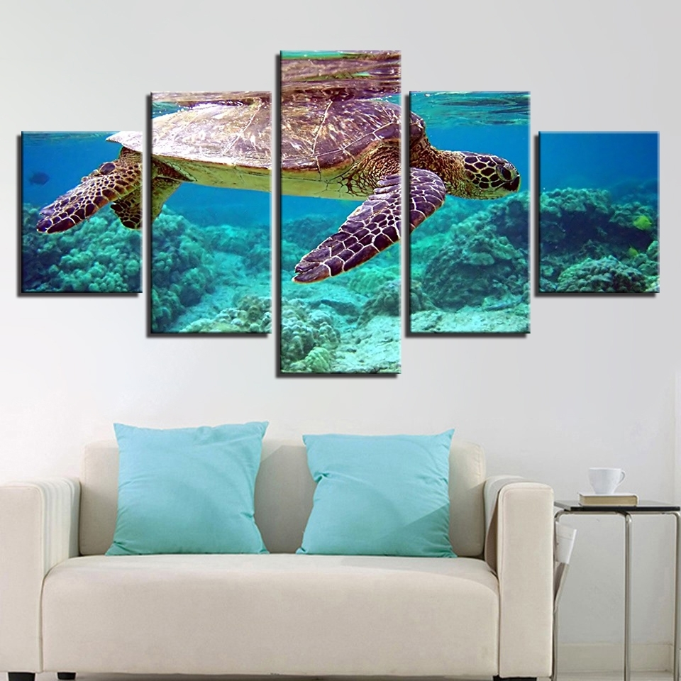Canvas Pictures Wall Art Framework 5 Pieces Blue Deep Sea Turtle Intended For Current Sea Turtle Canvas Wall Art (Gallery 12 of 20)