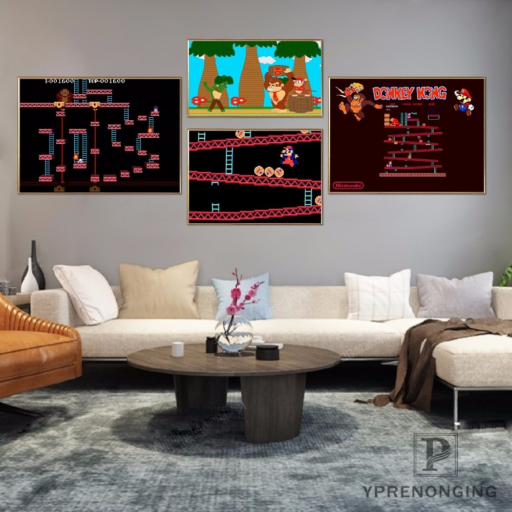 Canvas Poster Silk Fabric Donkey Kong Retro Nintendo Gaming Poster Regarding Latest Nintendo Wall Art (View 4 of 20)