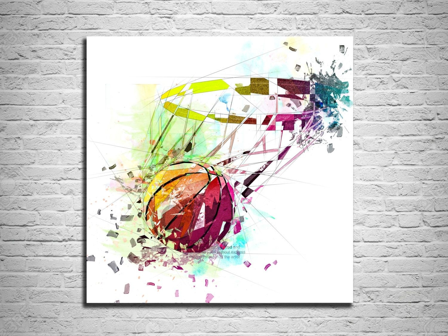 Canvas Print Basketball Art, Sports Wall Art, Basketball Poster In Most Recent Sports Wall Art (View 2 of 20)