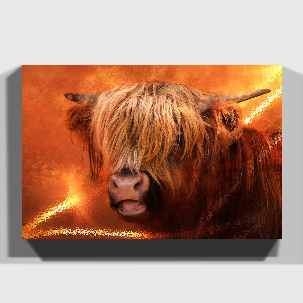 Canvas Print Various Size Wall Art Highland Cow | Ebay Regarding Recent Cow Canvas Wall Art (Gallery 13 of 20)