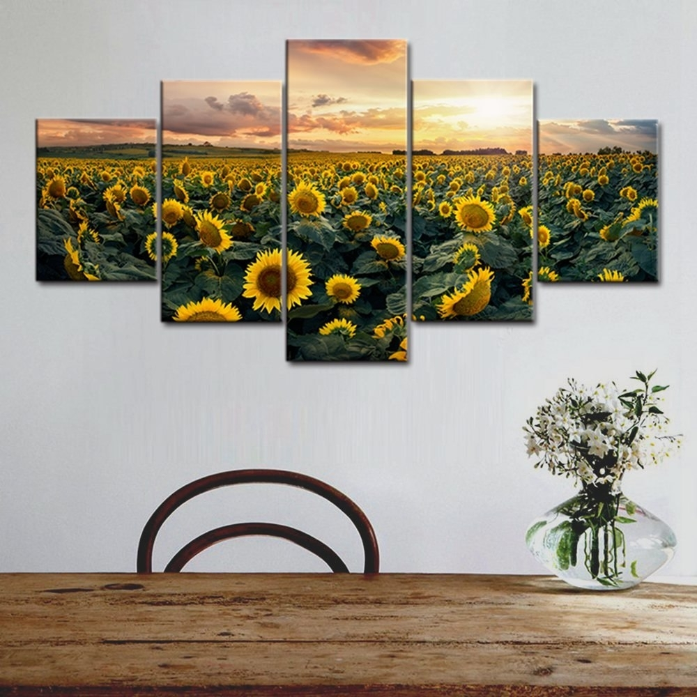 Canvas Print Wall Art Painting For Home Decoration Bright Sunflower In 2017 Sunflower Wall Art (View 7 of 20)