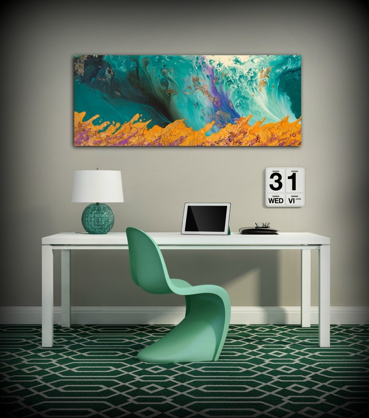 Canvas Print Wall Decor Large Abstract Wall Art Teal And Orange Within Most Up To Date Oversized Teal Canvas Wall Art (View 7 of 20)