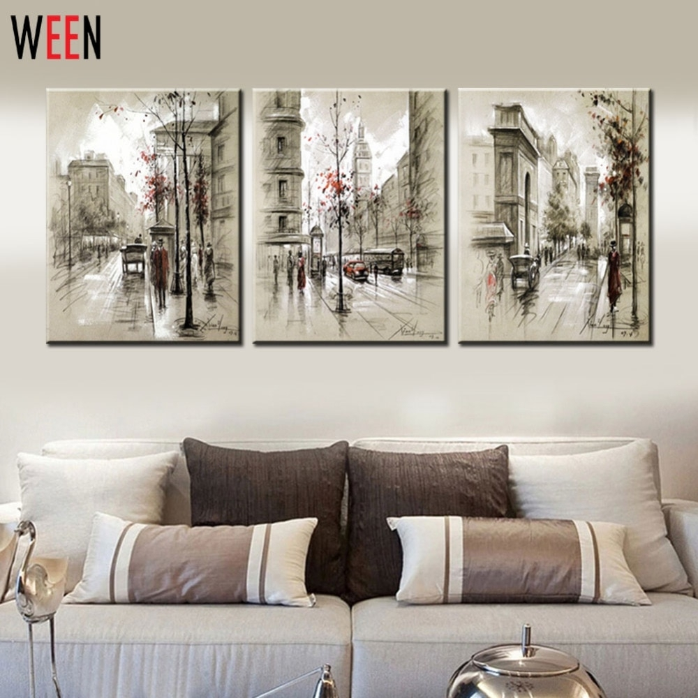 Canvas Printings Retro City Street Landscape 3 Piece Modern Style Inside Current Cheap Wall Art (View 7 of 15)