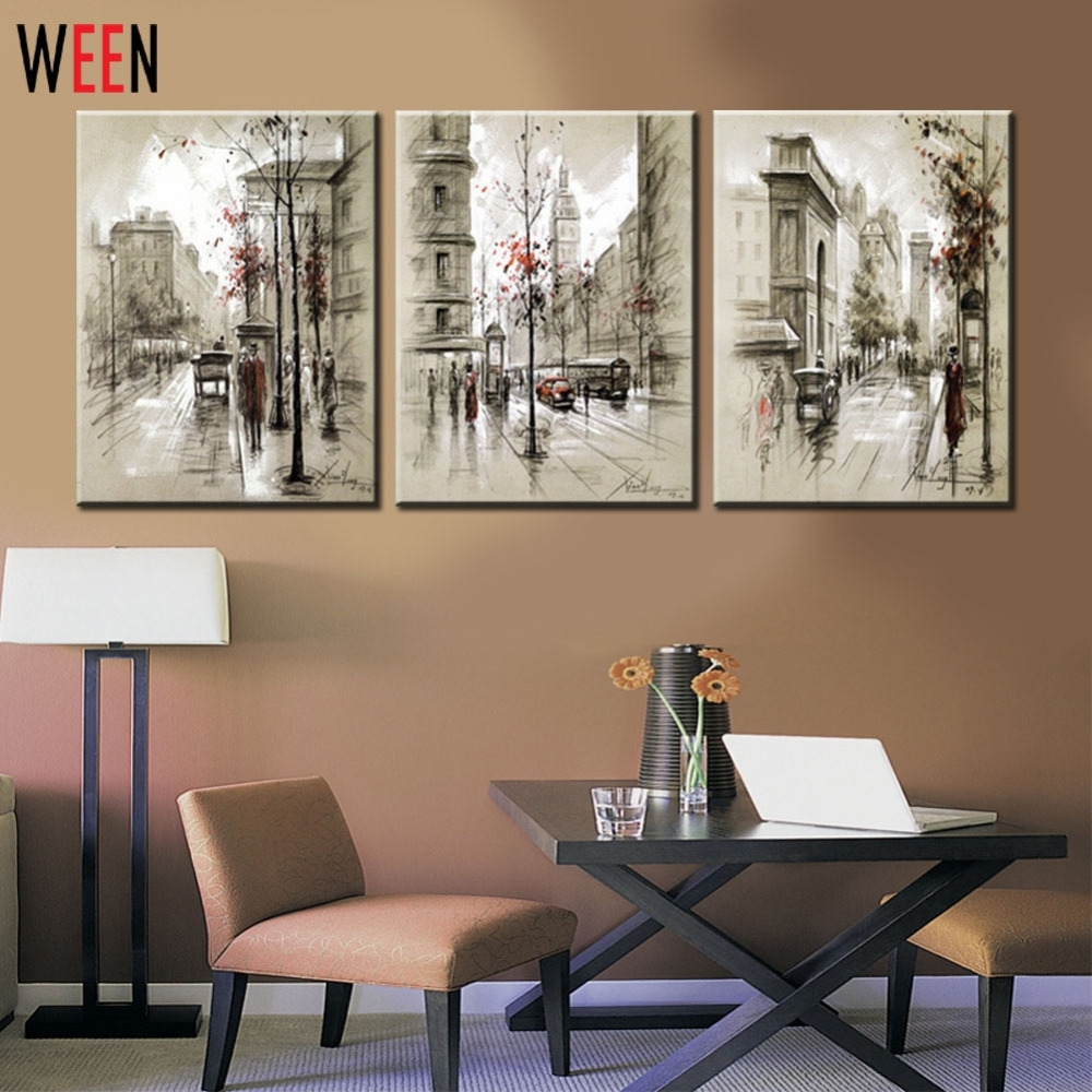 Canvas Printings Retro City Street Landscape 3 Piece Modern Style Intended For Most Current Cheap Framed Wall Art (View 3 of 20)