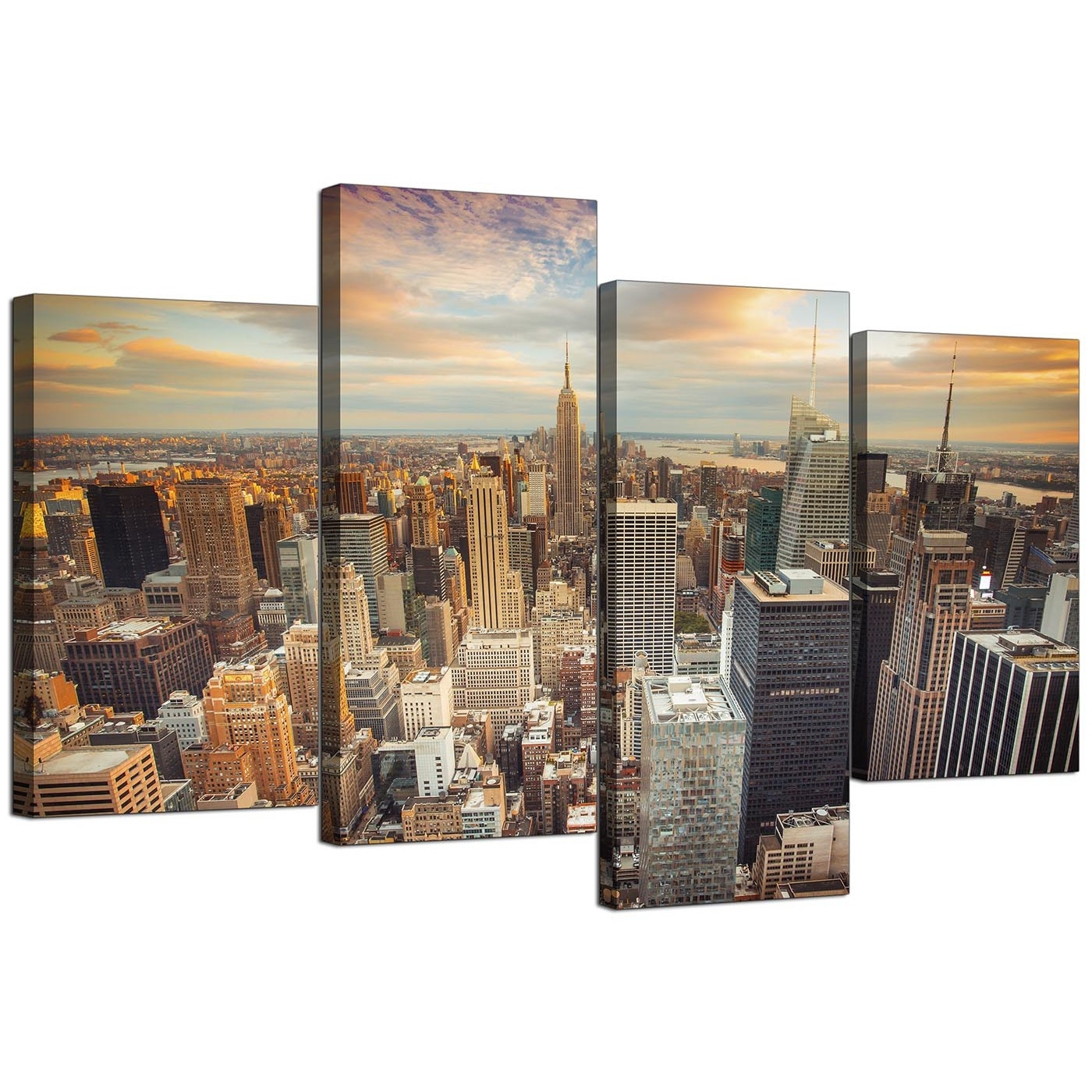 Canvas Prints Of The New York Skyline For Your Living Room – 4 Panel Intended For Latest New York Canvas Wall Art (View 15 of 15)