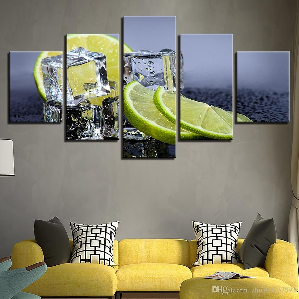 Canvas Prints Pictures Kitchen & Restaurant Lemon Ice Cubes Regarding Newest Lemon Wall Art (View 5 of 20)