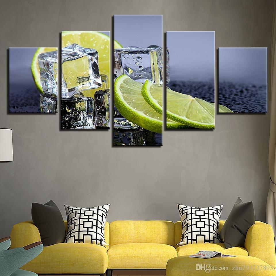 Canvas Prints Pictures Kitchen & Restaurant Lemon Ice Cubes Regarding Newest Lemon Wall Art (Gallery 12 of 20)