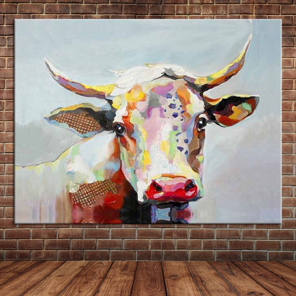Canvas Wall Art Cute Animal Colorful Cow Hand Painted Oil Painting In Most Popular Cow Canvas Wall Art (Gallery 15 of 20)