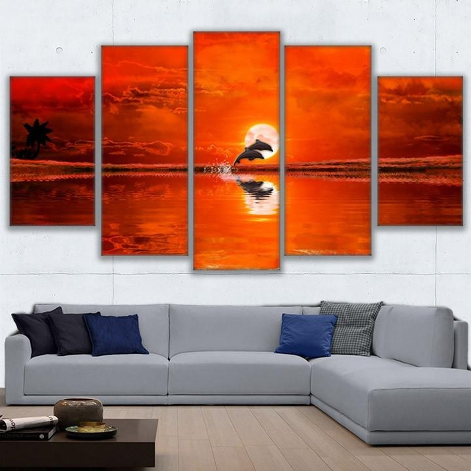 Canvas Wall Art Frame Home Decor Hd Prints Pictures 5 Pieces Dolphin With Most Up To Date Orange Wall Art (View 10 of 20)