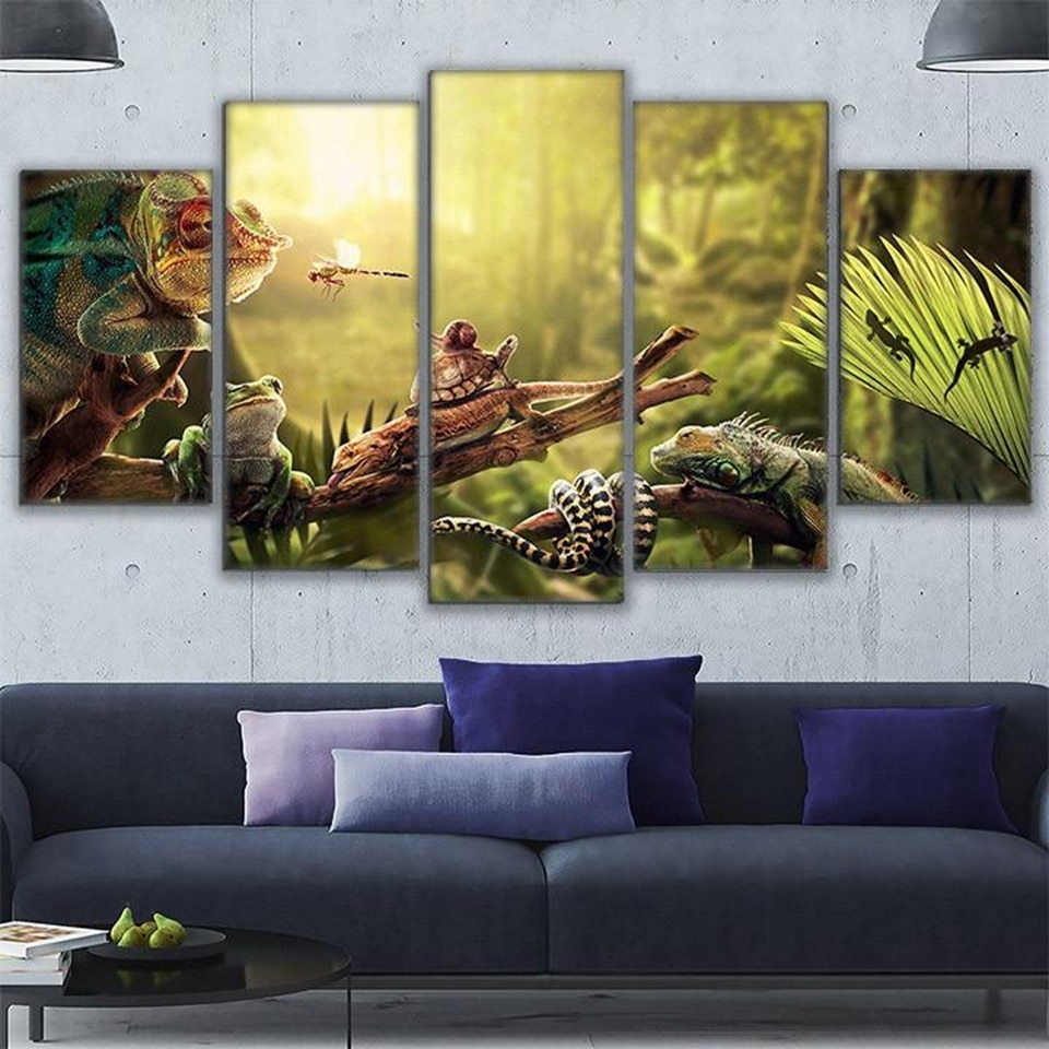 Canvas Wall Art Home Decor Prints Poster 5 Pieces Iguana Snail Gecko Regarding Most Recent Gecko Canvas Wall Art (View 7 of 20)