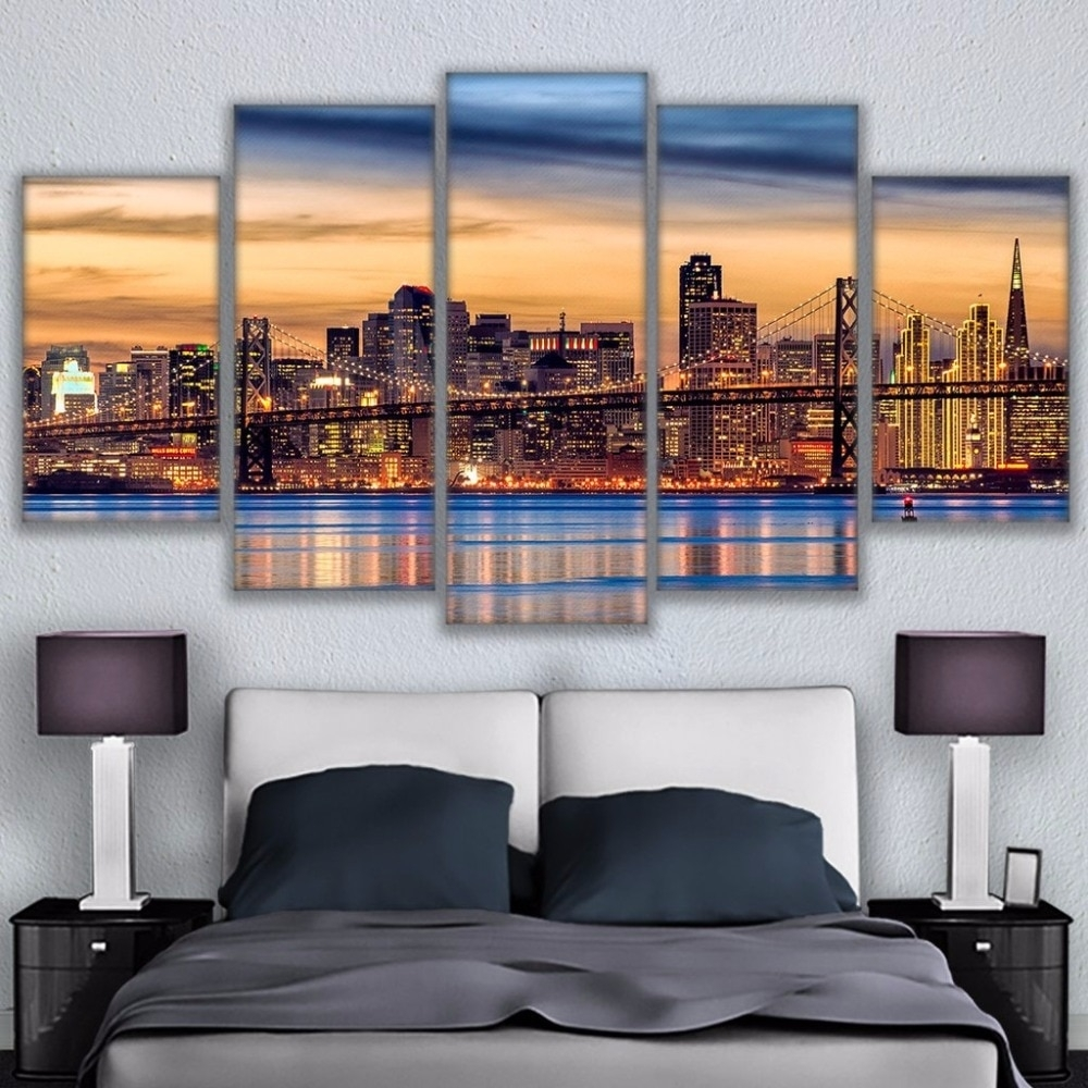 Canvas Wall Art Pictures Framework Living Room Prints Posters 5 Pertaining To Most Recent San Francisco Wall Art (View 6 of 20)