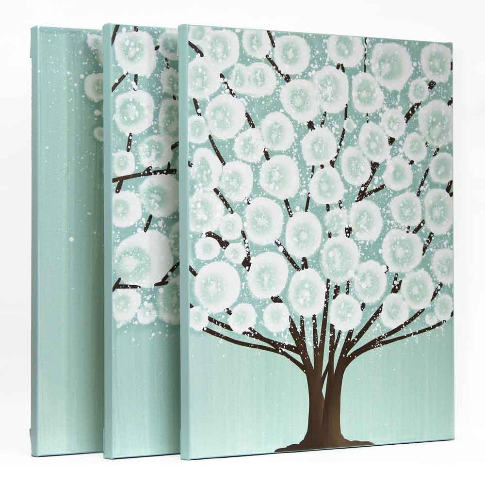 Canvas Wall Art Tree Painting Triptych In Teal Brown – Large | Amborela Inside Most Current Sea Glass Wall Art (View 8 of 15)