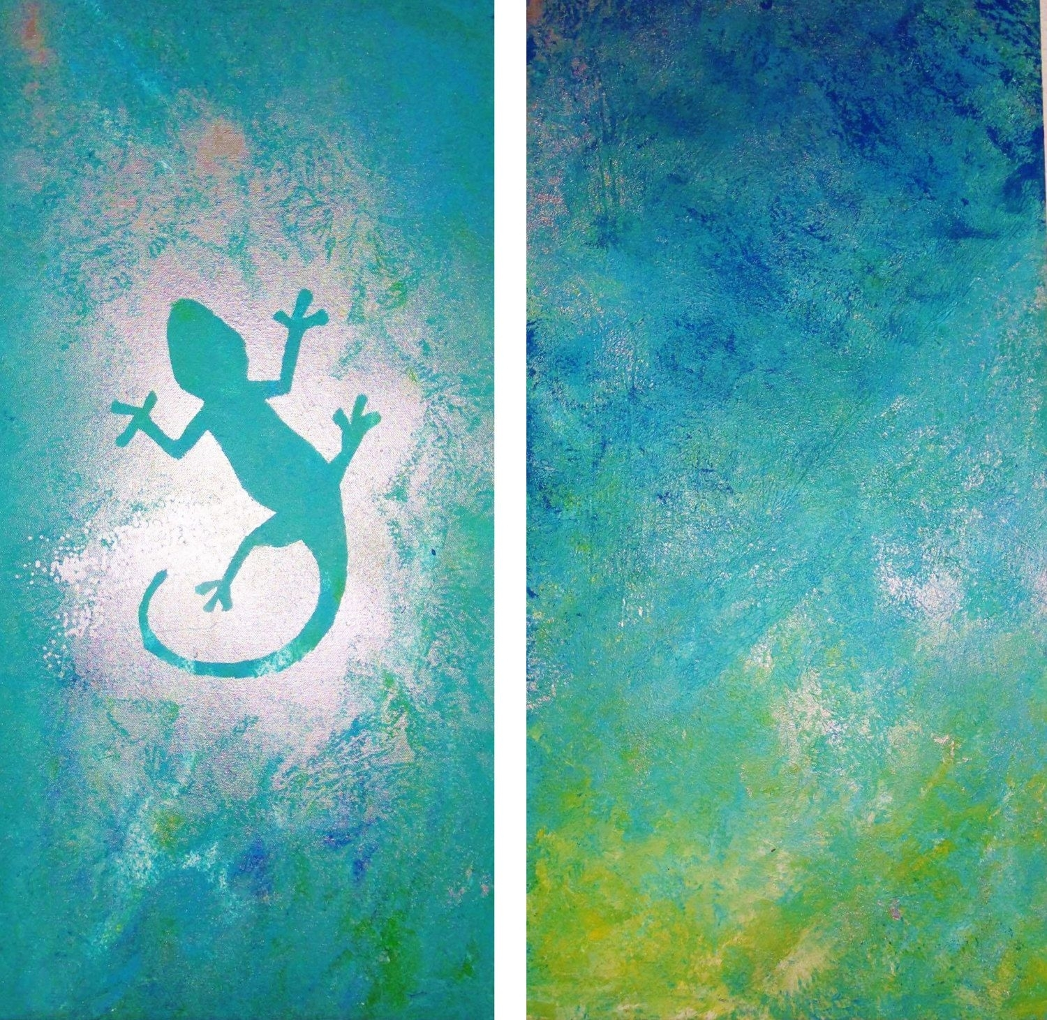 Canvas Wall Art – Turquoise Gecko — Original Unique Abstract Acrylic Throughout Best And Newest Gecko Canvas Wall Art (View 6 of 20)