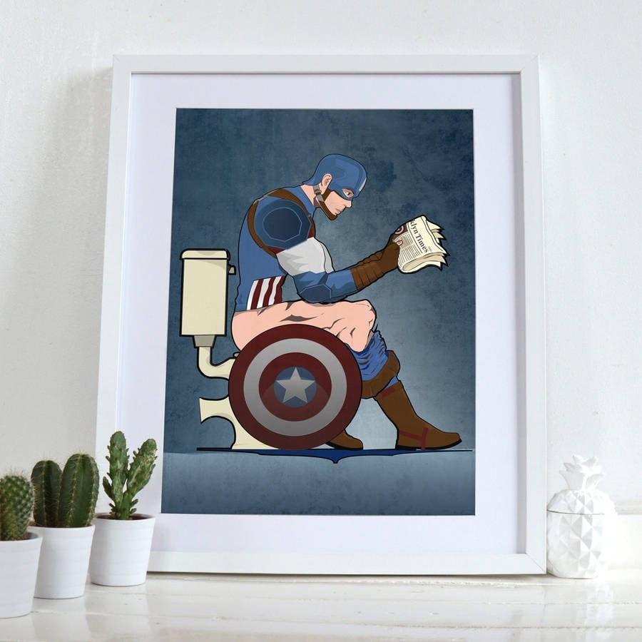 Captain America On The Toilet Poster Wall Art Printwyatt9 Within Most Up To Date Wall Art Prints (View 12 of 20)