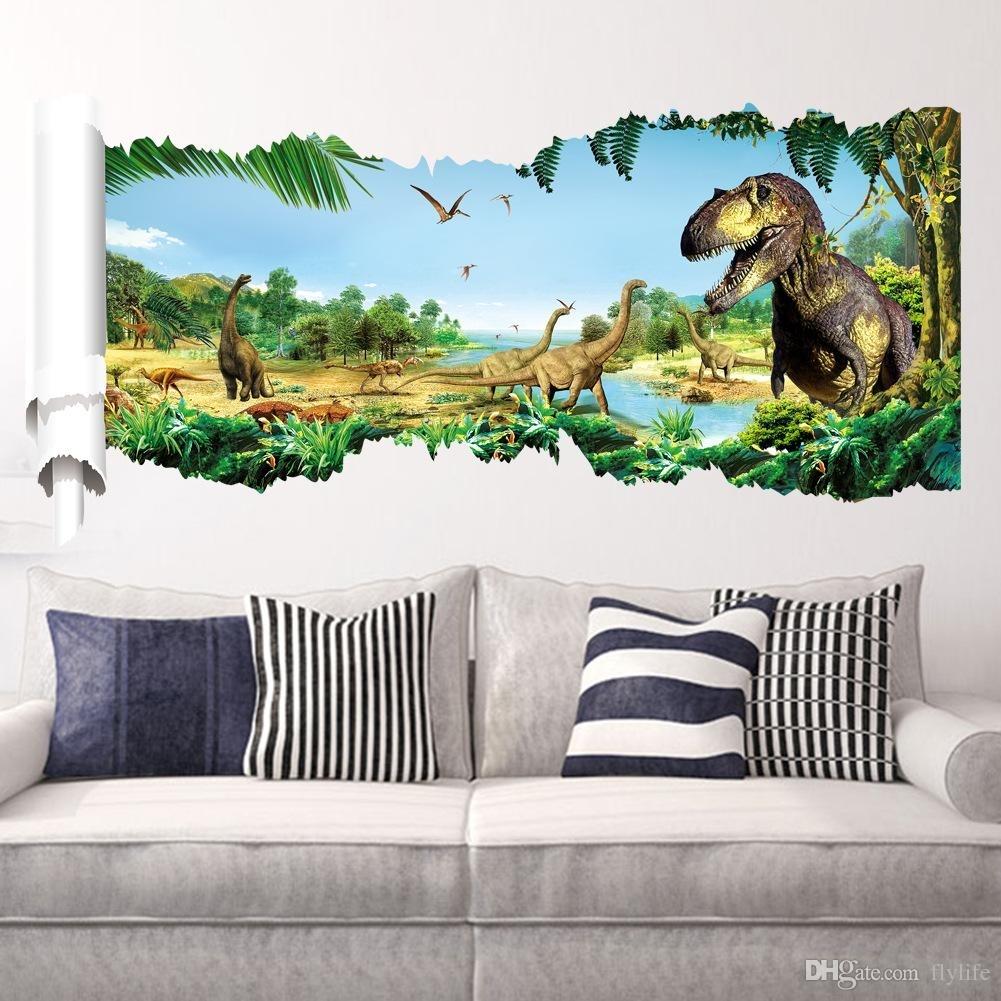 Cartoon 3D Dinosaur Wall Sticker For Boys Room Child Art Decor With Most Popular Dinosaur Wall Art (Gallery 2 of 20)