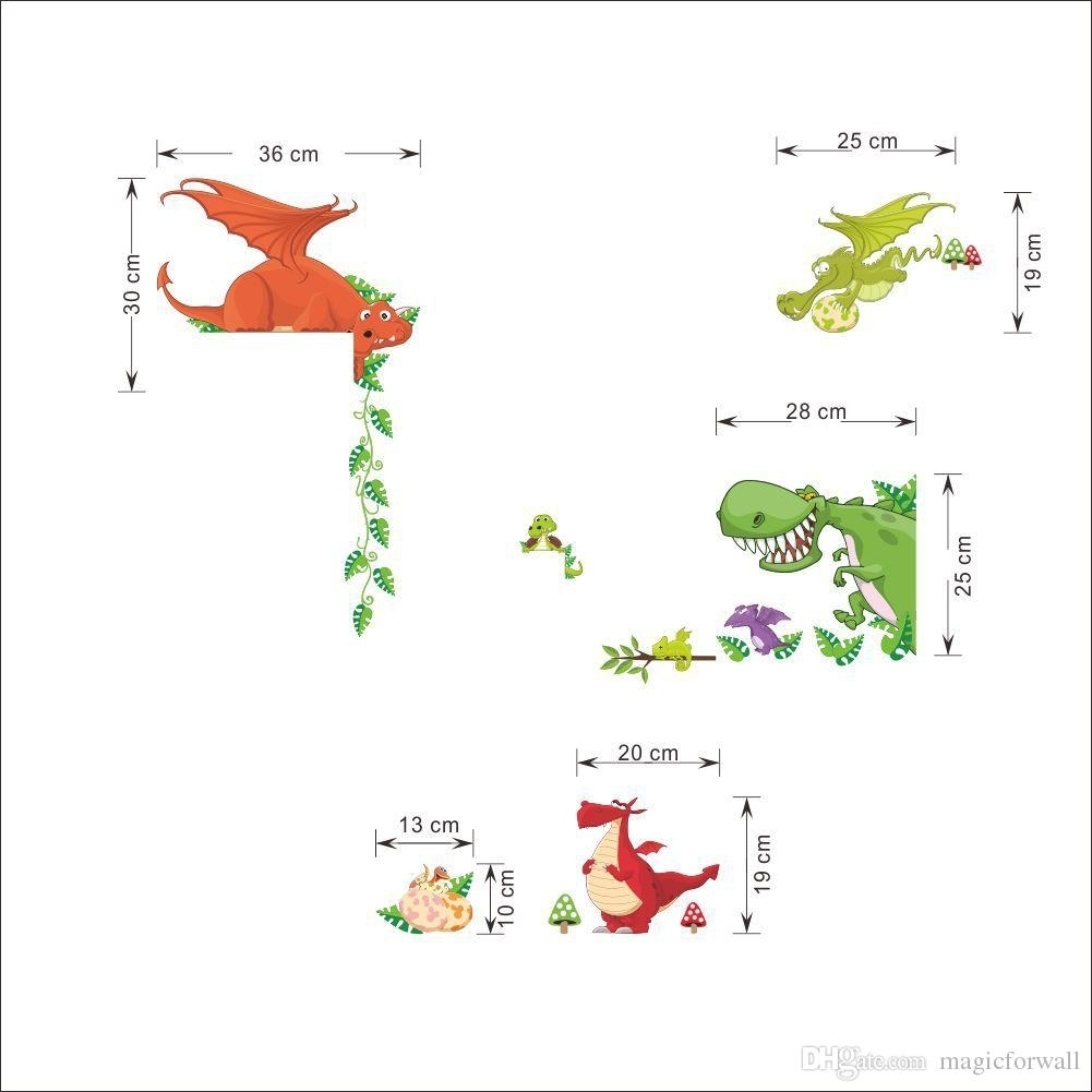 Cartoon Dinosaur Wall Art Mural Sticker Decor Kids Baby Boys Girls Pertaining To Most Recently Released Dinosaur Wall Art (View 3 of 20)