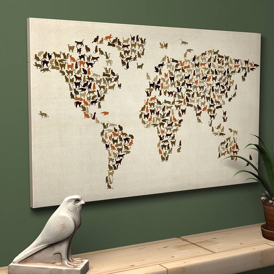 Cats World Map Art Printartpause | Notonthehighstreet Pertaining To Best And Newest Map Of The World Wall Art (View 1 of 20)