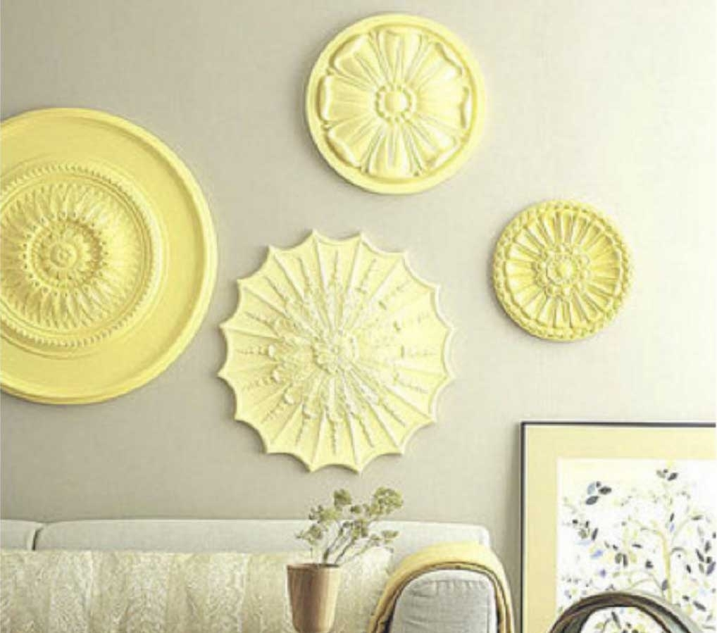 Ceiling Medallion Wall Art With Yellow Color Ideas For Recent Ceiling Medallion Wall Art (View 3 of 15)