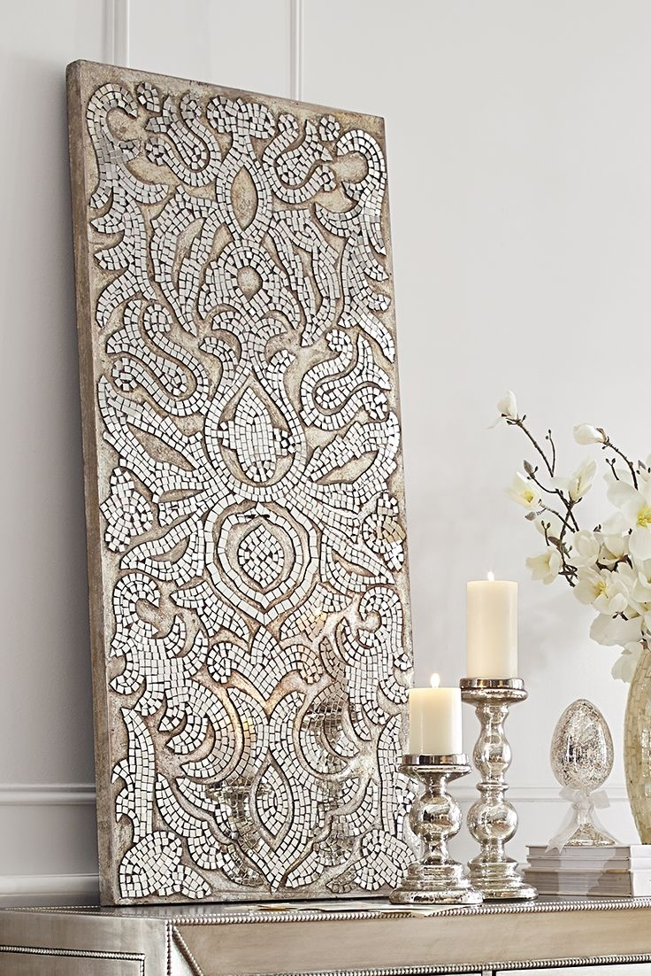 Champagne Mirrored Mosaic Damask Wall Panel | Furnishings Within Most Recently Released Mirrored Wall Art (View 2 of 20)