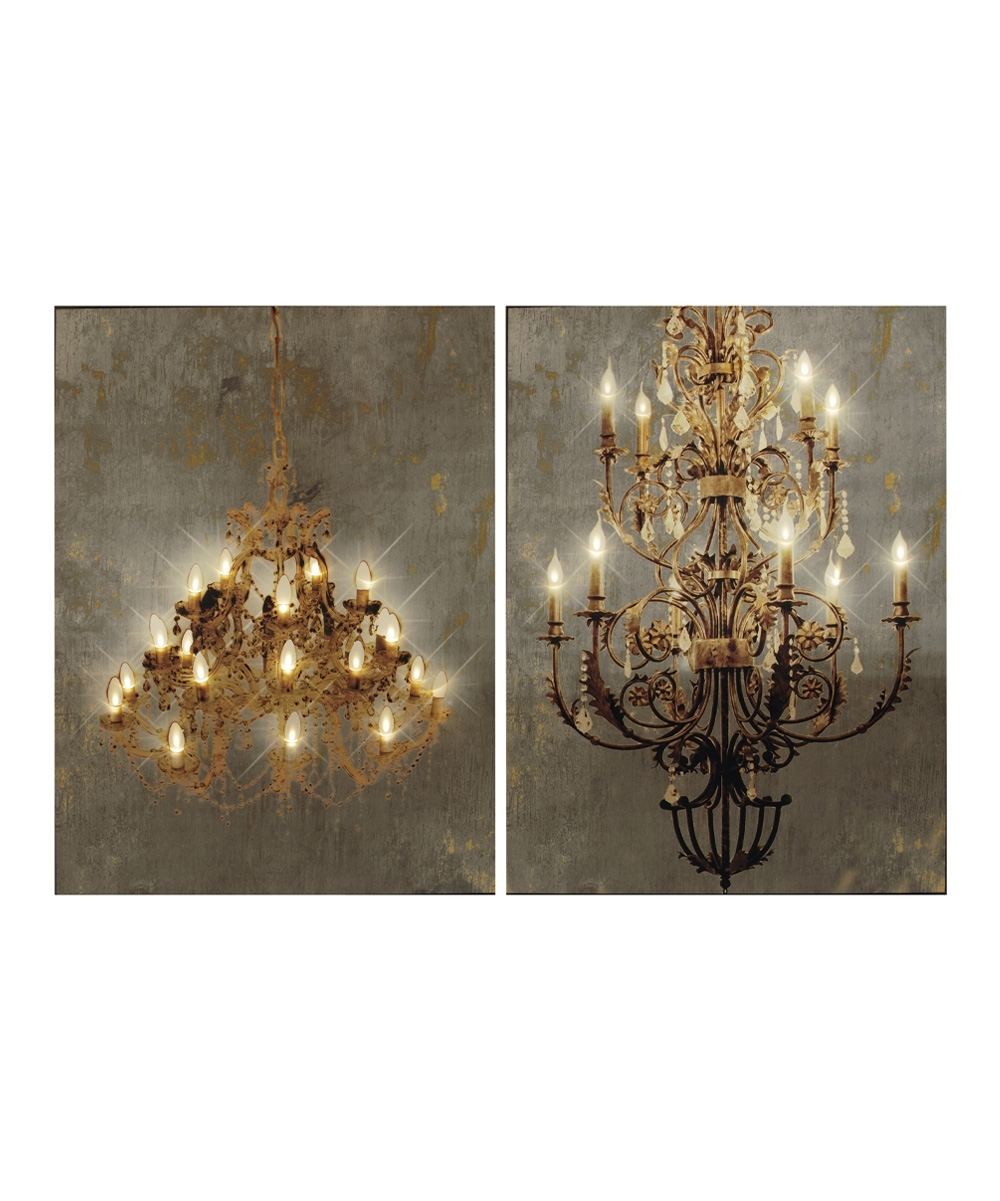 Chandelier Light Up Canvas Wall Art – Set Of Two | Zulily Inside Newest Light Up Wall Art (View 16 of 20)