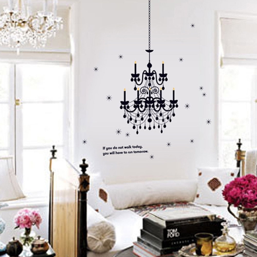Chandelier Lighting Fancy Wall Decal Vinyl Art Words Sticker Art Regarding Most Popular Chandelier Wall Art (View 10 of 20)