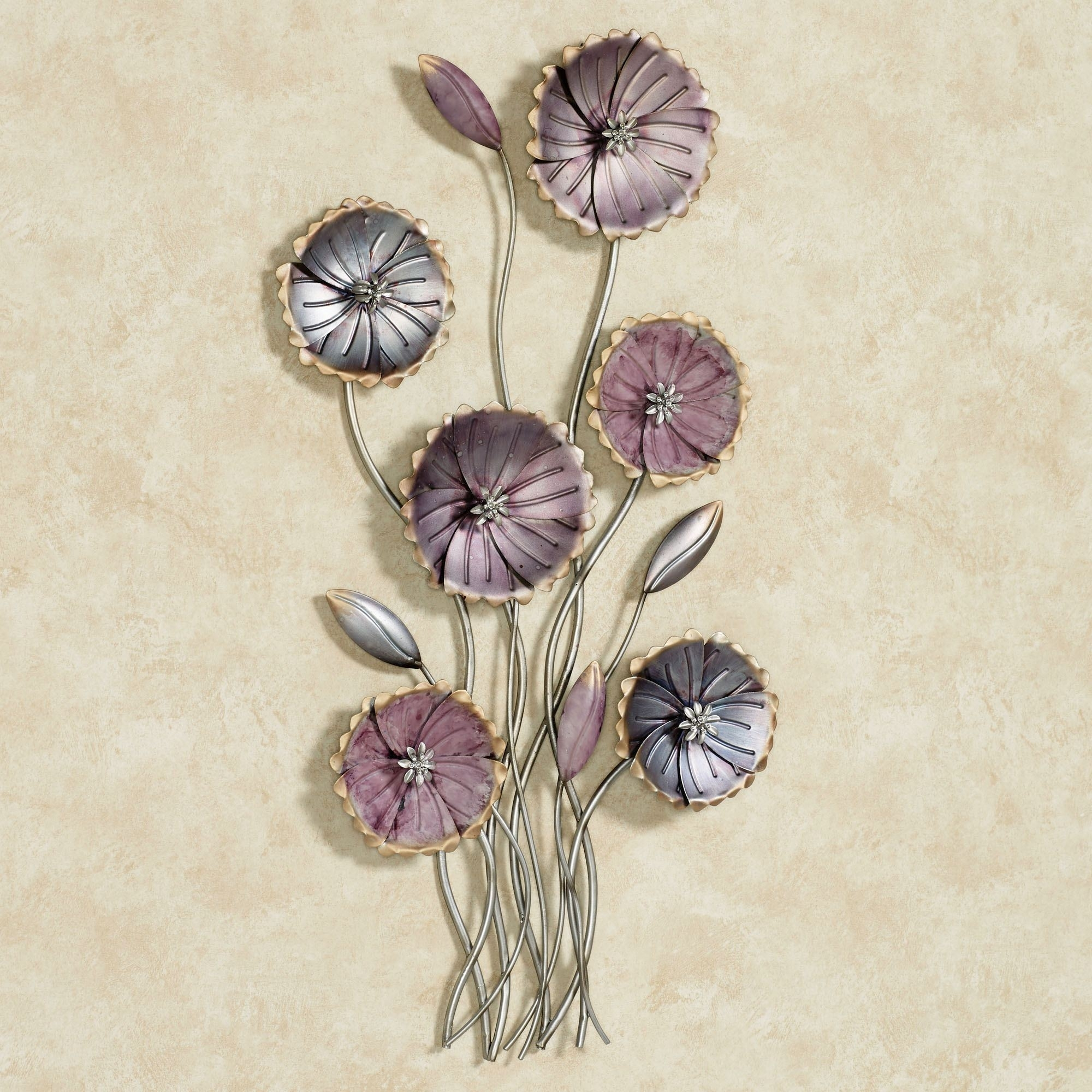 Charming Floral Array Purple Metal Wall Art With 2018 Metal Flowers Wall Art (View 11 of 20)