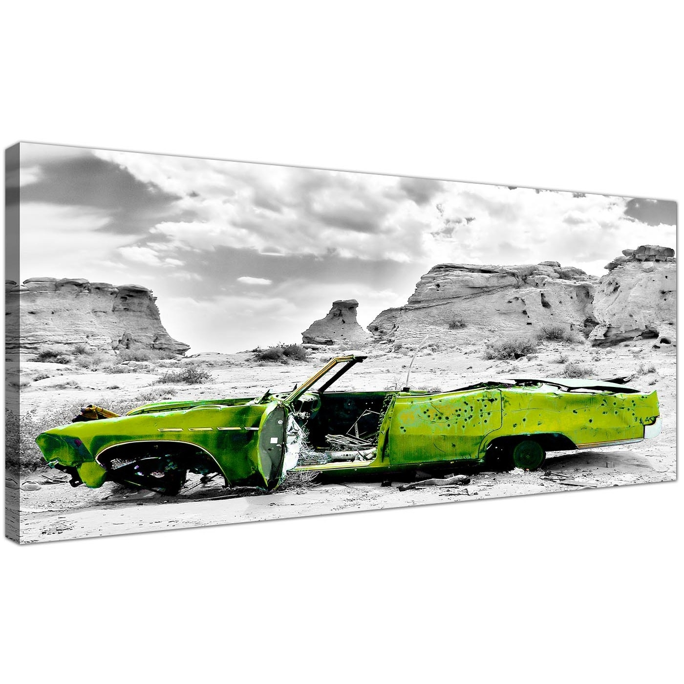 Cheap Black And White Canvas Wall Art Of A Green Car Intended For 2018 Car Canvas Wall Art (View 14 of 20)