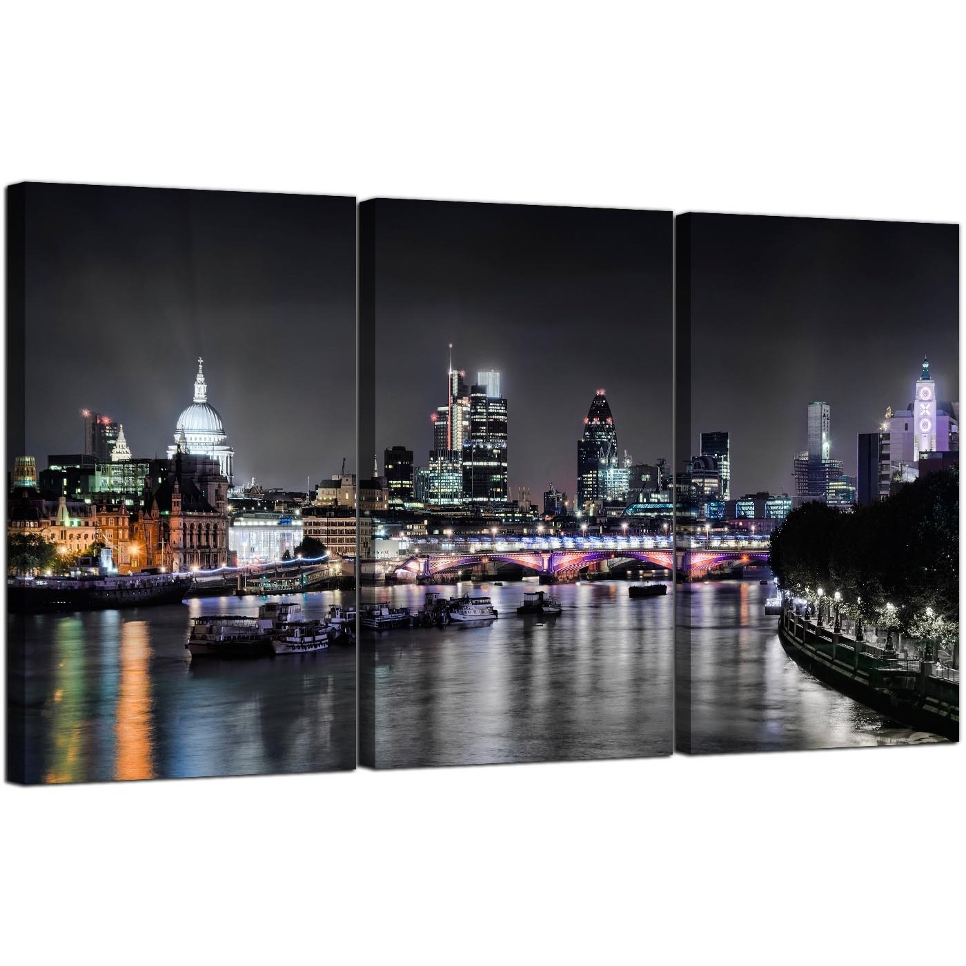 Cheap London Skyline At Night Canvas Art 3 Panel For Your Living Room Inside Most Popular London Wall Art (Gallery 10 of 20)