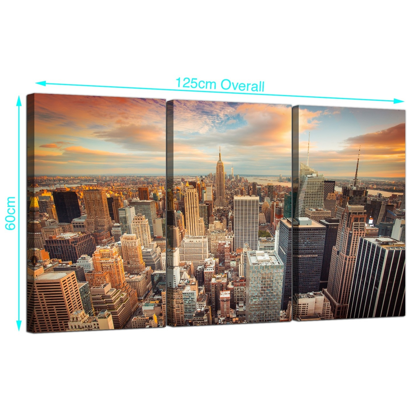 Cheap New York Skyline Canvas Wall Art 3 Panel For Your Living Room Intended For Most Popular New York Canvas Wall Art (View 8 of 15)