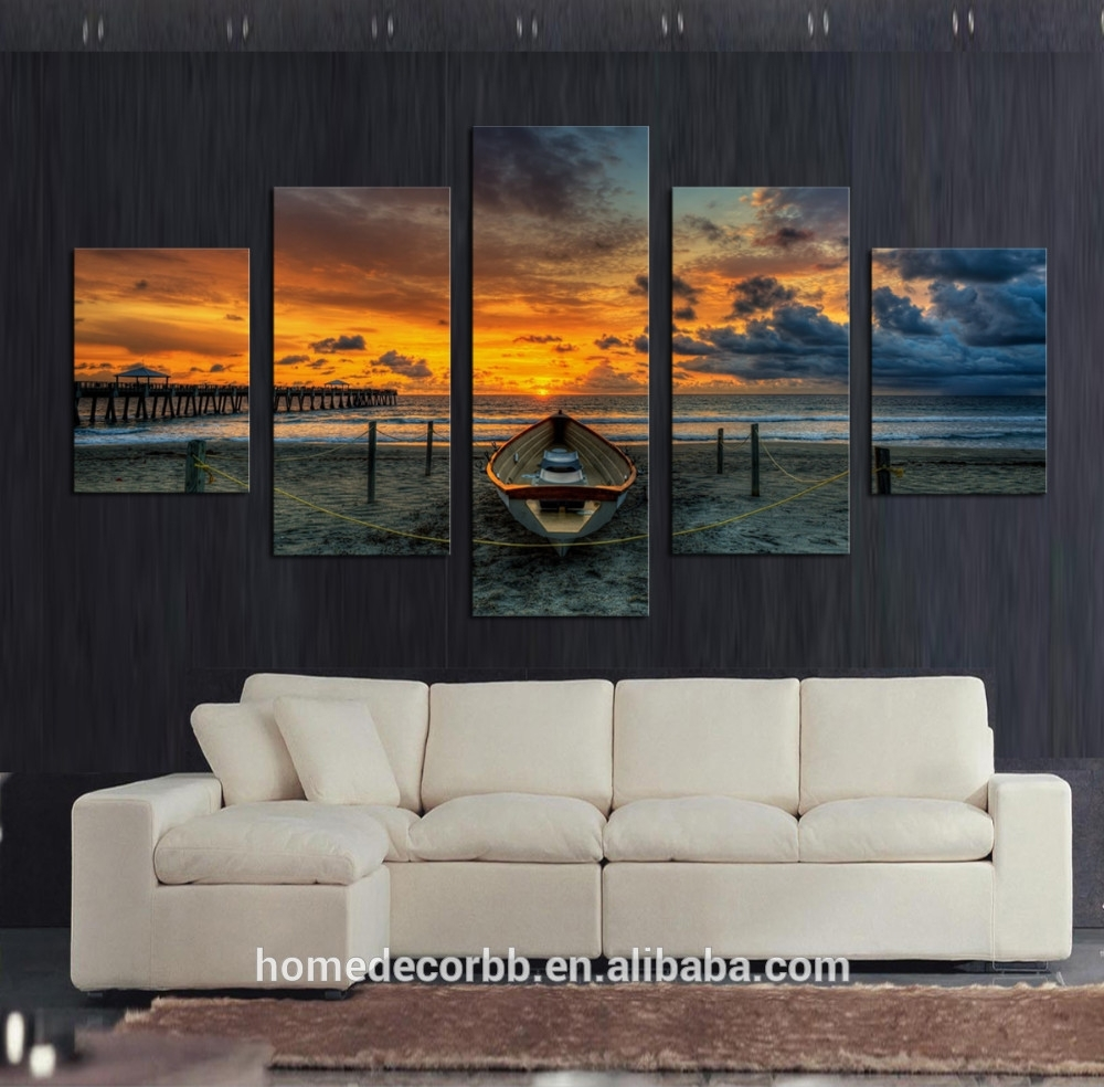 Cheap Wall Art Canvas Paintings,5 Set Seascape Sunset View Canvas Inside Newest Cheap Wall Art (View 14 of 15)