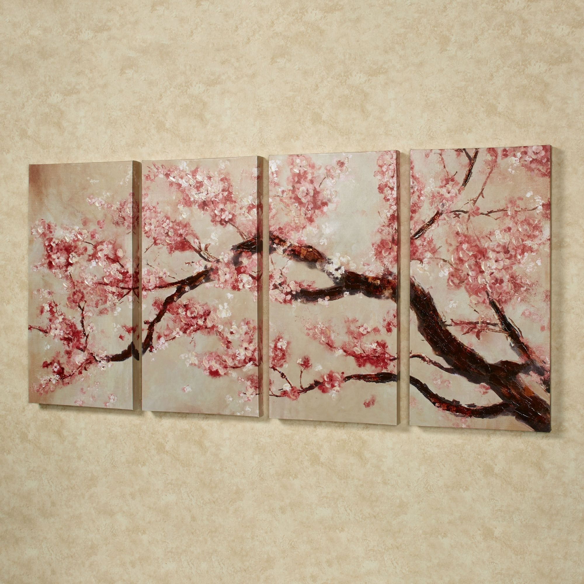 Cherry Blossom Tree Quadtych Canvas Art Set | Wall Art | Pinterest For Current Cherry Blossom Wall Art (Gallery 12 of 20)
