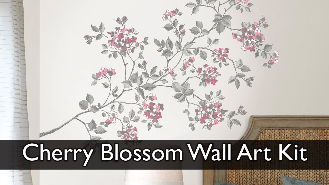 Cherry Blossom Wall Art Decal Kit – Youtube Throughout Most Recently Released Cherry Blossom Wall Art (Gallery 1 of 20)