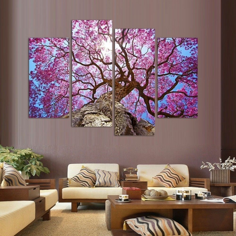 Cherry Blossoms Wall Art Oil Painting For Recent Cherry Blossom Wall Art (View 3 of 20)