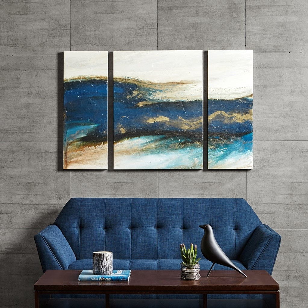 Chevron Pattern Tryptych Wall Art Blues Within Newest Triptych Wall Art (View 9 of 20)