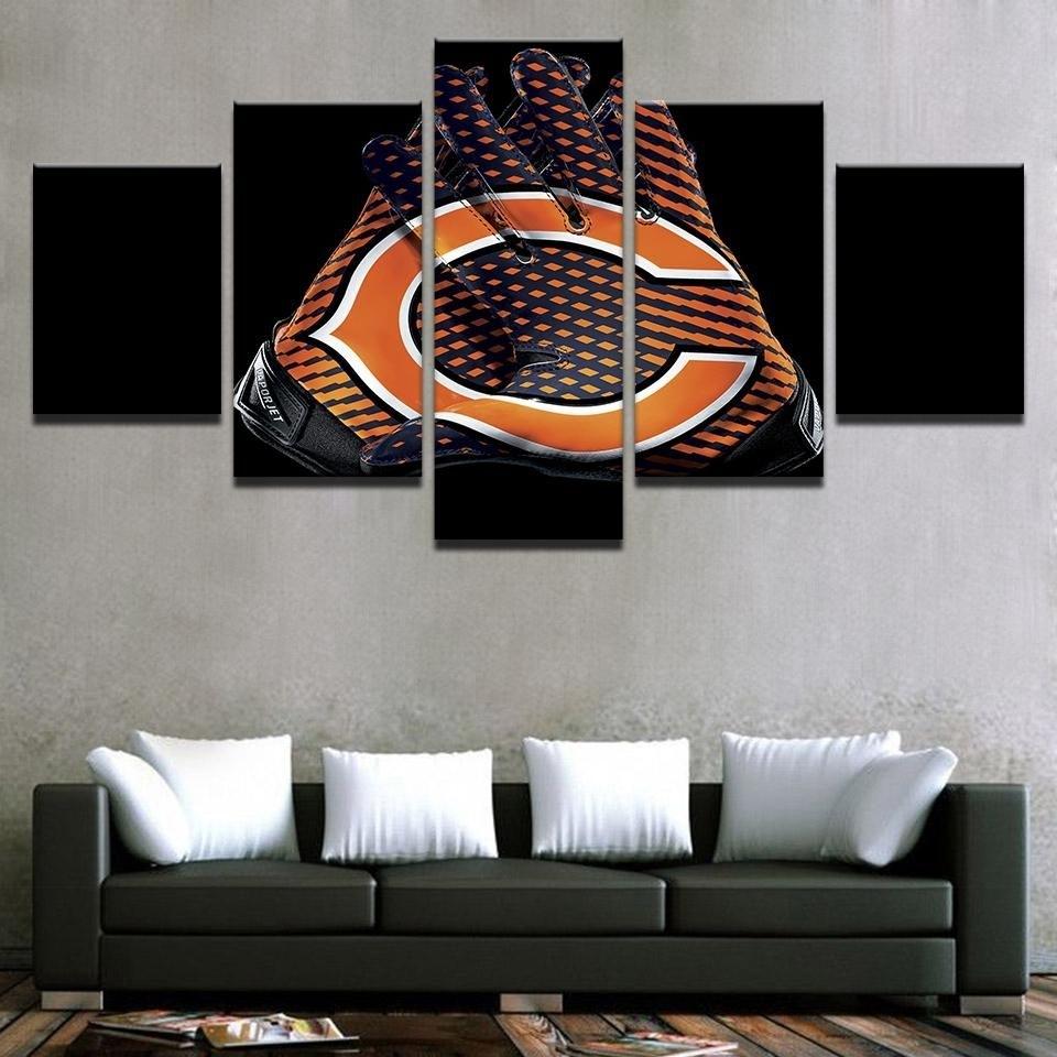 Chicago Bears Nfl Football 5 Panel Canvas Wall Art Home Decor | Wall Regarding Current Nfl Wall Art (View 7 of 15)